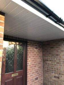 White soffit board, and guttering replacement